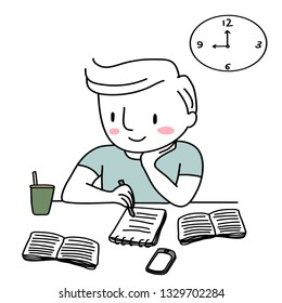 Student studying, doing research and taking notes in library. Cute man sitting at desk, taking notes from textbooks. Teen boy studying for the exam. Male student studying at desk with few books.