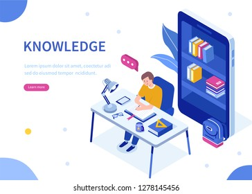 Student studying at home. Can use for web banner, infographics, hero images. Flat isometric vector illustration isolated on white background.