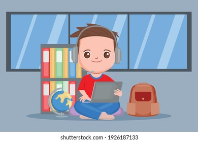 Student studying at home. Online school education with internet wifi concept.