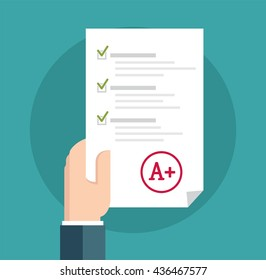 Student in Suit Holding Examination Quiz Paper Form. A paper with the top university grade.  Vector flat illustration