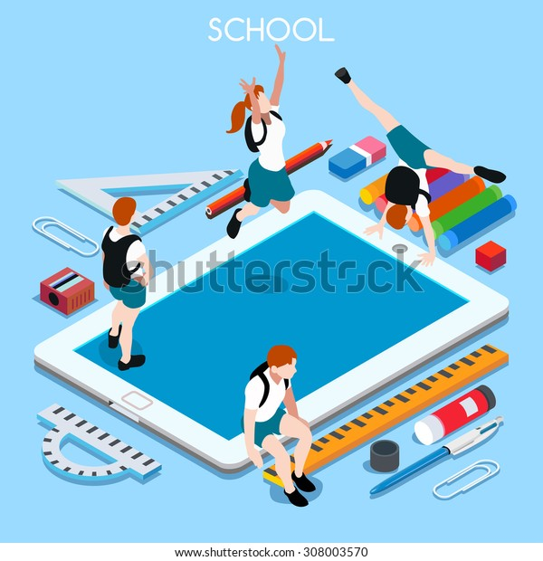 Student Tablet at Back to Schoo shop set. Happy Teen Computer online School. Kid student Laptop. School Laptop collection 3D Flat isometric people infographic. Student group tablet vector illustration