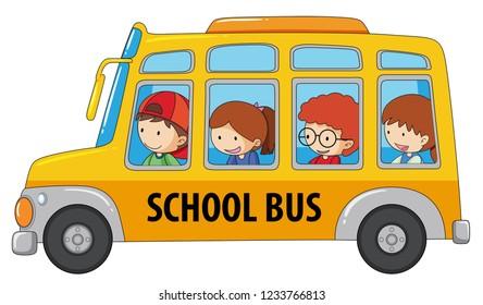 Girl In School Bus Stock Illustrations Images Vectors Shutterstock