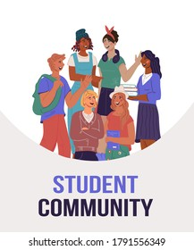 Student university community banner concept with young people standing together, flat vector illustration. Flat flyer or leaflet design with student guys and young women. - Shutterstock ID 1791556349
