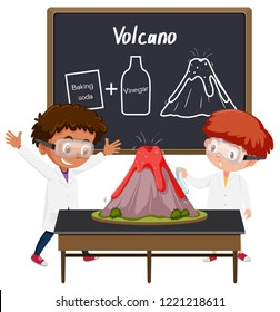 Student volcano science experiment  illustration