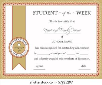Student of the Week Certificate; Vector