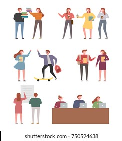 A student who shows various aspects of campus life. vector illustration flat design