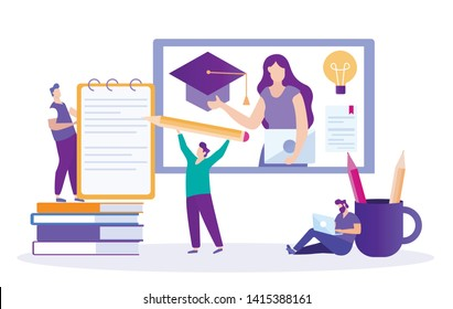 Student Writes Summary. Lecture Online. Distance Learning. Lesson Online. E-Learning. Online Training. Men with Pencil and Notebook. Vector Illustration. Write Lecture. Correspond with Woman Teacher.