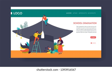 Students and academic hat school graduation web page template vector education and knowledge degree receiving course or training online distant learning or training Internet site mockup headdress
