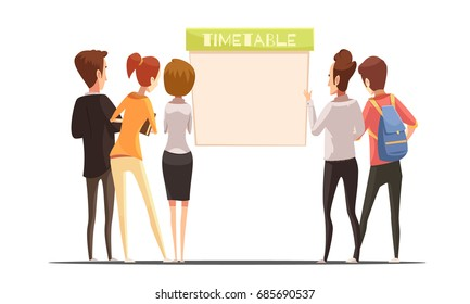 Students with backpack and books near timetable design in retro cartoon style on white background vector illustration