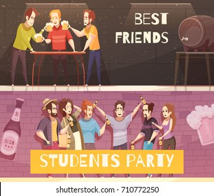 Students beer party horizontal banners with groups of young people in hipster clothes meeting in bar pub or cafe interior flat vector illustration