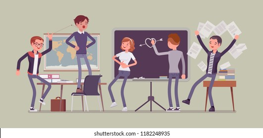 Students behaving badly in a classroom, making fun, mess and trouble in class, misconduct pupils disorganizing school learning process, enjoy a break. Vector flat style cartoon illustration