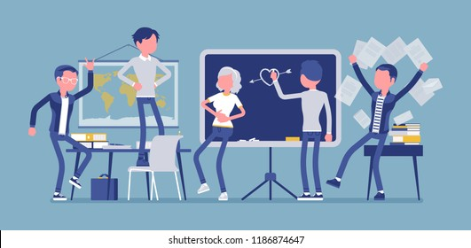 Students behaving badly in a classroom, making fun, mess and trouble in class, misconduct pupils disorganizing school learning process, enjoy a break. Vector illustration, faceless characters
