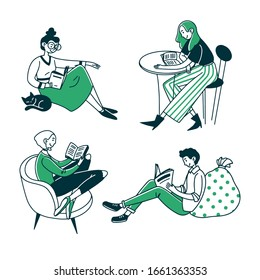 Students or book readers. People reading books, newspapers at home or cafe flat vector illustration. Knowledge, leisure, studying concept for banner, website design or landing web page
