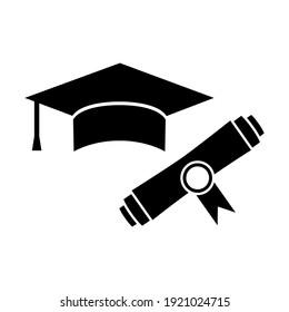 Students cap, education, graduate set icon, logo isolated on white background
