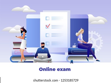 Students characters studying, thinking, writing university exam. School homework reading a test. Online exam, questionnaire form, online education, learning, survey, internet quiz. Vector illustration