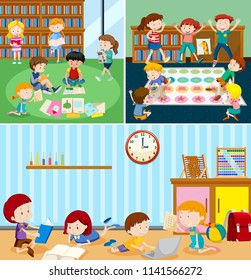 Students at the classroom illustration