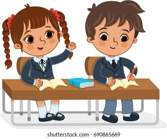Students in the classroom. (Vector illustration)