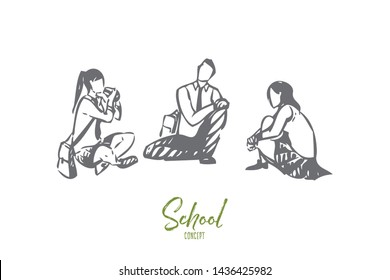 Students concept sketch. Children talking before study. Teenagers spending time together after class. Having conversation with classmates. Having lunch in school backyard. Isolated vector illustration
