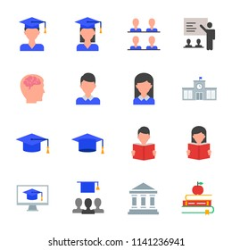Students, education set of vector icons