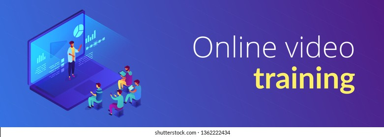Students e-learning by webinar training and listening to businessman with charts on laptop. Webinar, online video training, tutorial podcast concept. Isometric 3D banner header template copy space.