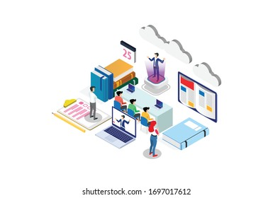 Students e-learning by webinar training and listening to businessman with Hologram. Webinar, online video training, Suitable for Diagrams, Infographics, Game Asset, And Other Graphic Related Asset