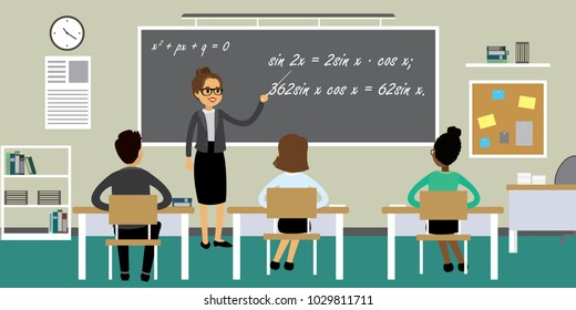Students and female teacher in classroom interior,cartoon school or college furniture and learning process,flat vector illustration