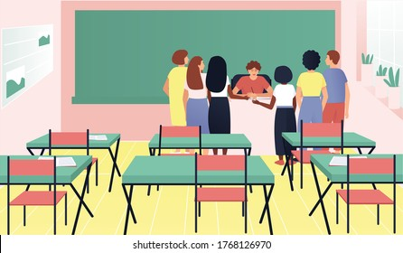 Students gathered around the teacher's desk. The teacher and students discuss their grades. Youth lifestyle. Flat vector cartoon illustration.