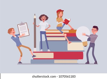 Students with giant books. School or college pupils studying, happy in gaining knowledge, academic training, holding bulb, pencil. Science and education concept. Vector flat style cartoon illustration
