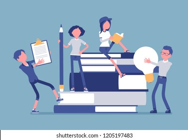 Students with giant books. School, college pupils studying, happy in gaining knowledge, academic training, holding bulb, pencil. Science and education concept. Vector illustration, faceless characters