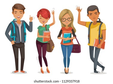 students group smiling and standing together. four people Students first day of college. Cartoon illustrated vector isolated on white background.