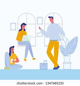 Students Having Break Flat Vector Illustration. Friends Spending Time Together. Character in Cafe, Room. Open Space Office. Coworking. Woman with Laptop Sitting on Window Sill. Colleagues Talking