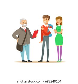 Students having a discussion with their professor, high school education vector Illustration