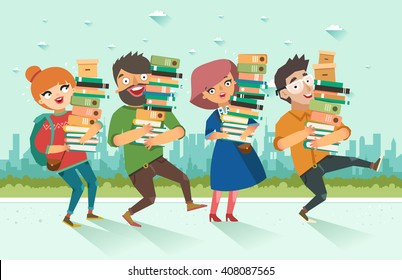 Students holding pile of books. Youth crowd with books on city background. Colorful vector illustration in flat style