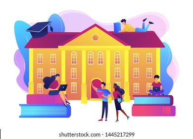 Students interacting with each other, making friends at university. College campus tours, university campus events, on-campus learning concept. Bright vibrant violet vector isolated illustration
