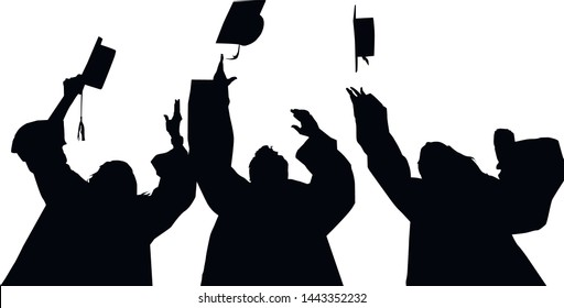 Students isolated white background vector. Vector silhouette of people who have a backpack.