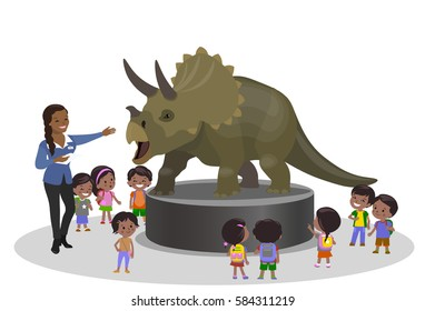 Students kids children in the paleontological museum education center trip holiday dinosaur Triceratops. Teacher brown skin woman girl. Vector illustration. Indian Mexican African American kids