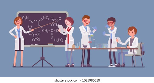Students in the lab. Young people studying at a university, have chemistry lesson in physical or natural laboratory. Science and education concept. Vector flat style cartoon illustration