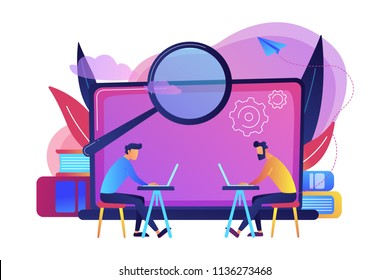 Students with laptops are searchig information in comruter class. Computer lab, academic laboratory, public library or Internet cafe. Modern education and student reserch concept. Vector illustration.