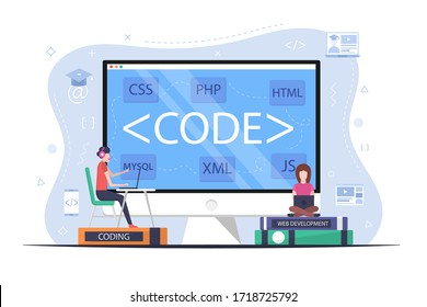 Students learn programming languages. Web development courses. Training in programming and website layout. Online school concept. Tutorials on XML, PHP, JavaScript, HTML, CSS and MYSQL.