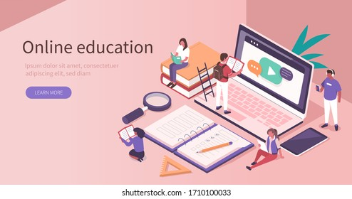 Students Learning Online at Home. People Characters  Looking at Laptop and Studying with Smartphone, Books and Exercise Books. Online Education Concept. Flat Isometric Vector  Illustration.