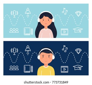 Students Learning Through Podcasts and Webinars. Education and Internet Technology. Blended Learning Concept Illustration. Vector Design