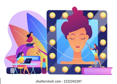 Students listening to teacher on training courses in professional makeup skills. Makeup courses, make up school, cosmetics masterclass concept. Bright vibrant violet vector isolated illustration