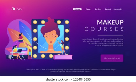 Students listening to teacher on training courses in professional makeup skills. Makeup courses, make up school, cosmetics masterclass concept. Website vibrant violet landing web page template.