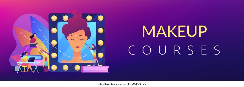 Students listening to teacher on training courses in professional makeup skills. Makeup courses, make up school, cosmetics masterclass concept. Header or footer banner template with copy space.