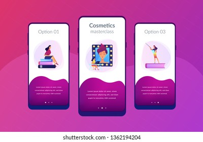 Students listening to teacher on training courses in professional makeup skills. Makeup courses, make up school, cosmetics masterclass concept. Mobile UI UX GUI template, app interface wireframe