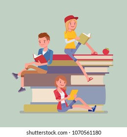 Students on book pile. Group of happy young people enjoy reading, devoted to study, sitting on giant books, bibliophile or bookworm. Science, education concept. Vector flat style cartoon illustration
