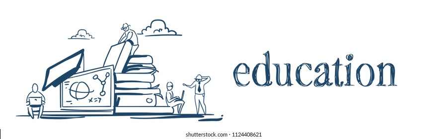 students on books stack education knowledge concept studying process molecular math formulas over white background sketch doodle banner vector illustration