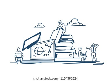 students on books stack education knowledge concept studying process molecular math formulas over white background sketch doodle vector illustration