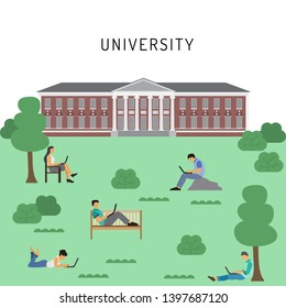 Students on campus vector illustration of young people using laptop, tablet and smartphone for education. School or university campus. Students on the lawn near the University building