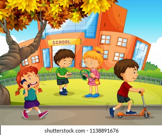 Students play at school yard illustration